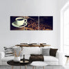 Coffee Cup And Coffee Beans Panoramic Canvas Wall Art 3 Piece / Small Tiaracle