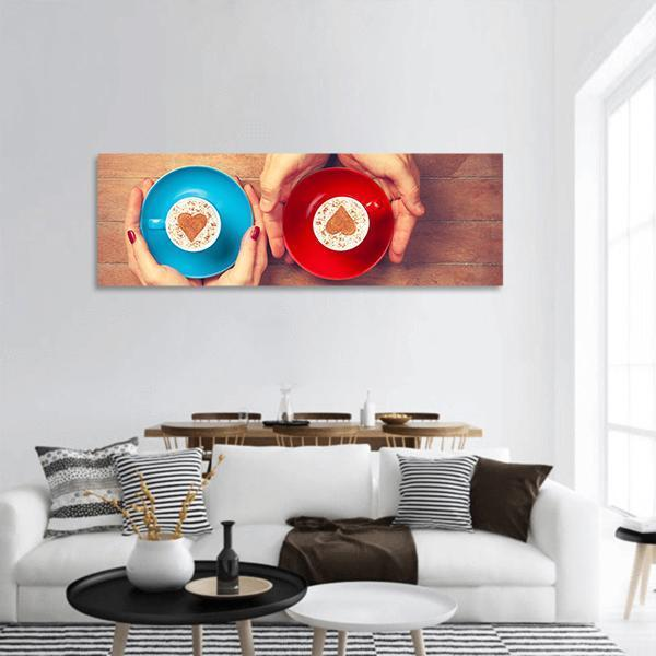 Coffee Cup With Heart Shape Panoramic Canvas Wall Art 3 Piece / Small Tiaracle