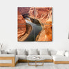Colorado River Meanders, Grand Canyon Multi Panel Canvas Wall Art-4 Square-Small-Gallery Wrap-Tiaracle