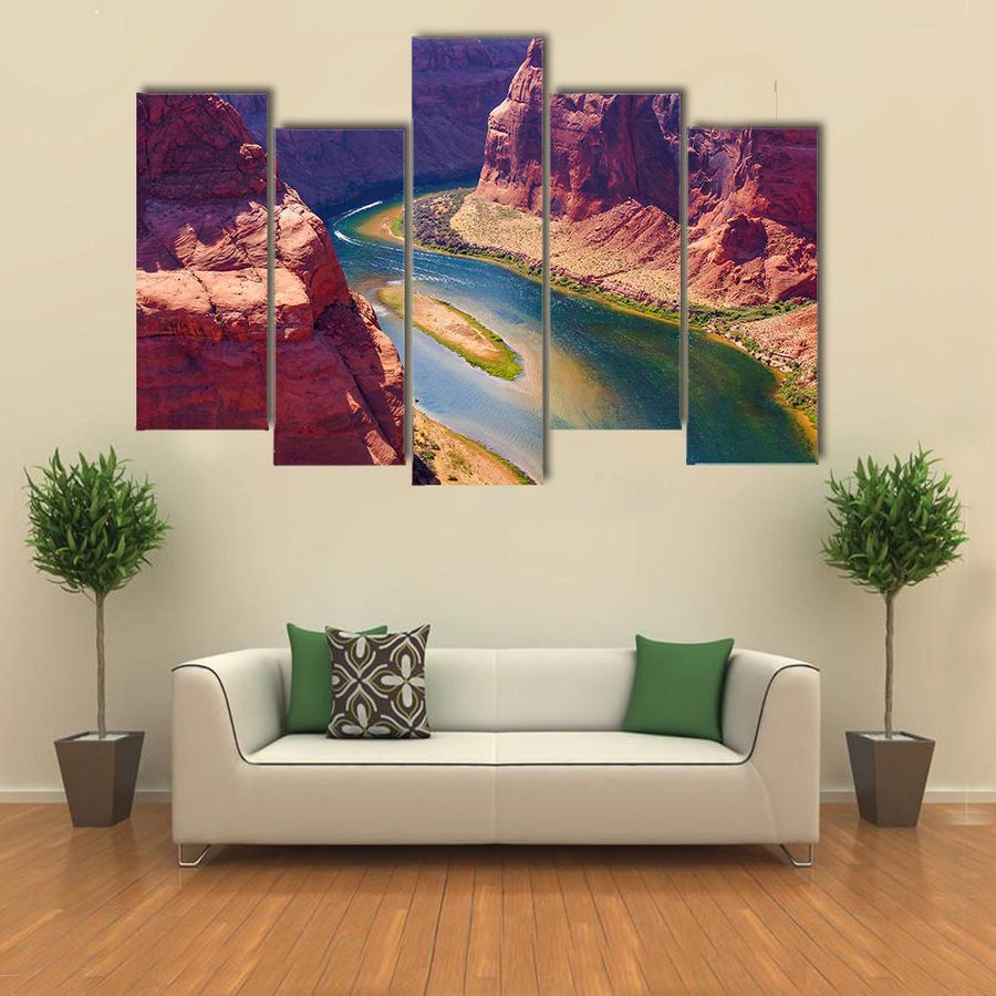 Colorado River Cuts Through Rock Heading For Grand Canyon Canvas Panel Painting Tiaracle