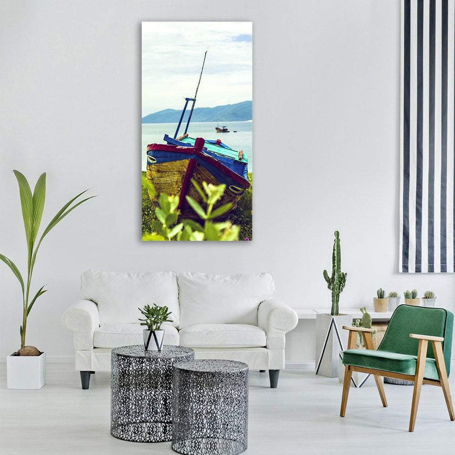 Colored Sail Boat In Vietnam Vertical Canvas Wall Art 3 Vertical / Small / Gallery Wrap Tiaracle