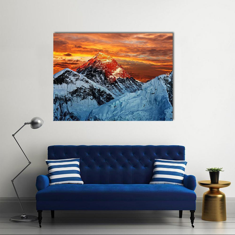Colored View Of Everest Multi Panel Canvas Wall Art-4 Horizontal-Small-Gallery Wrap-Tiaracle