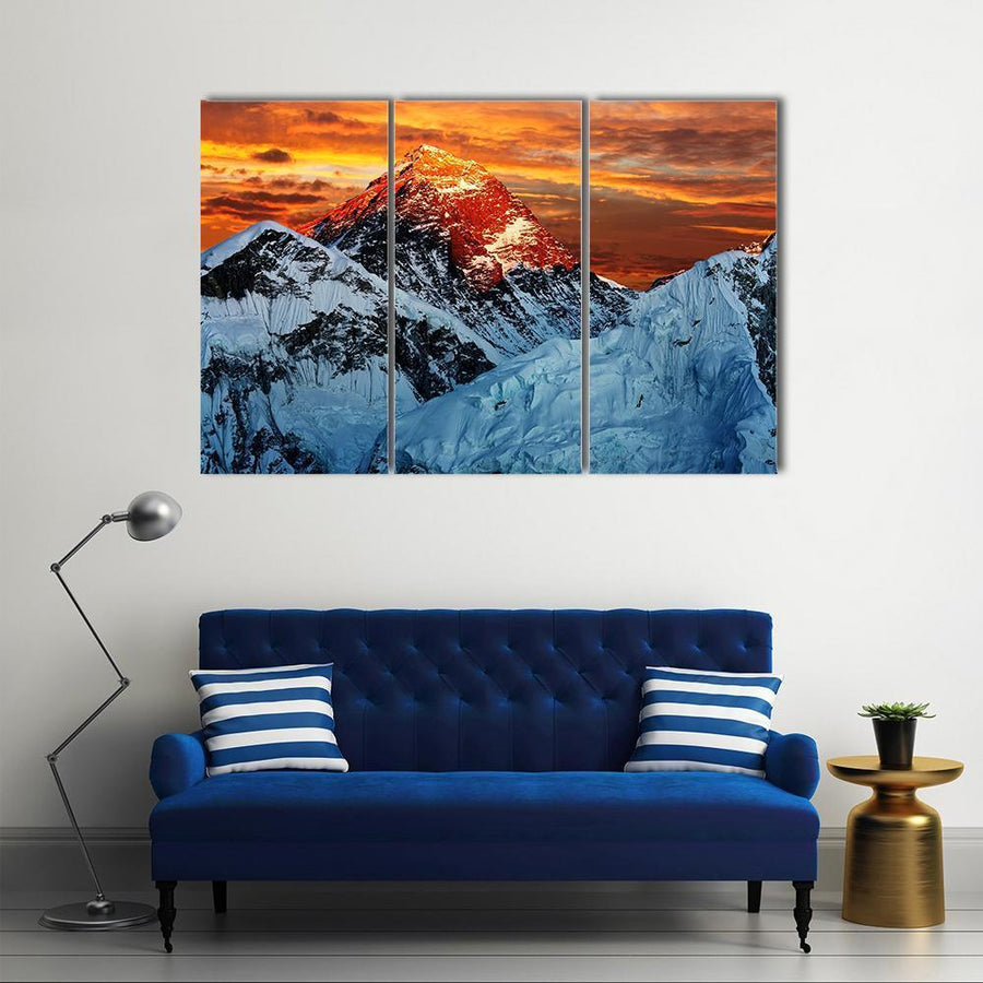 Colored View Of Everest Multi Panel Canvas Wall Art 5 Pieces(A) / Medium / Canvas Tiaracle