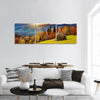 Colorful Autumn Mountain Landscape With Forest Panoramic Canvas Wall Art 3 Piece / Small Tiaracle