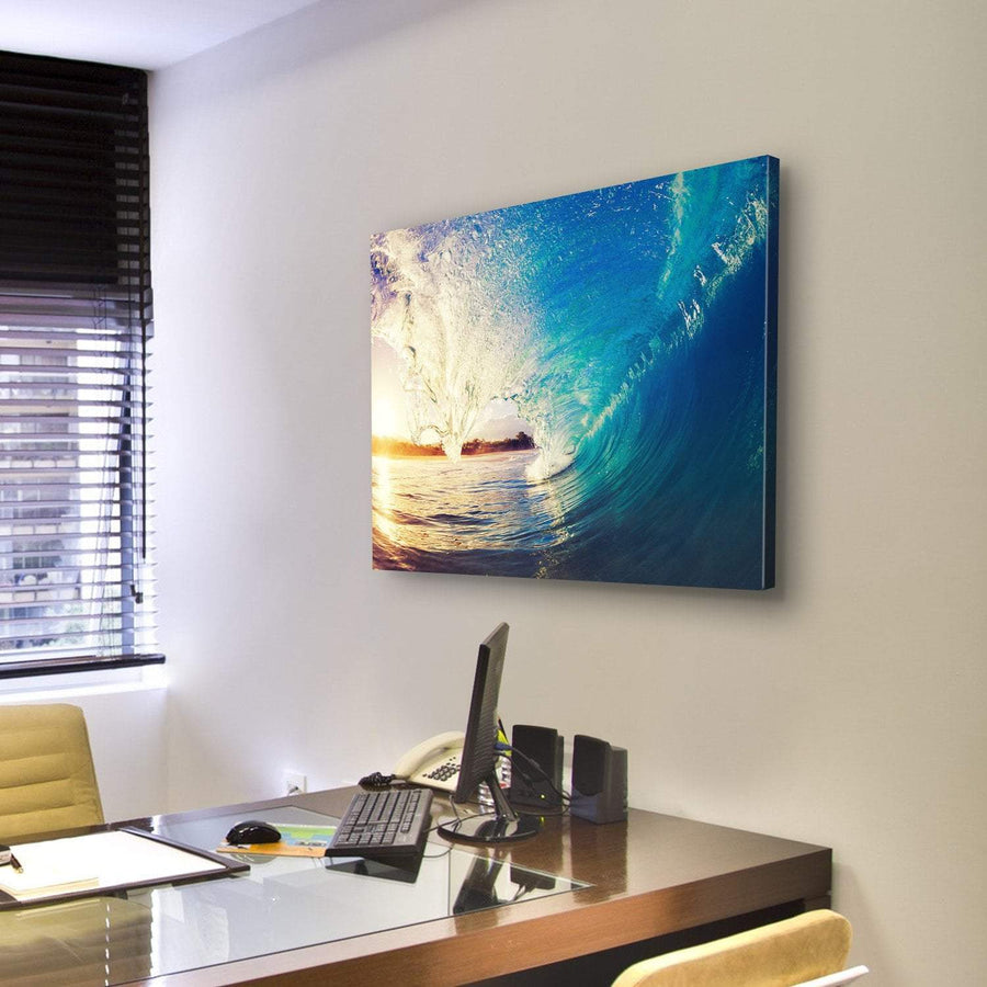 Colorful Ocean Wave Canvas Panel Painting Tiaracle