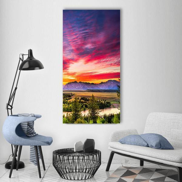 Colorful Sunset At Snake River Vertical Canvas Wall Art