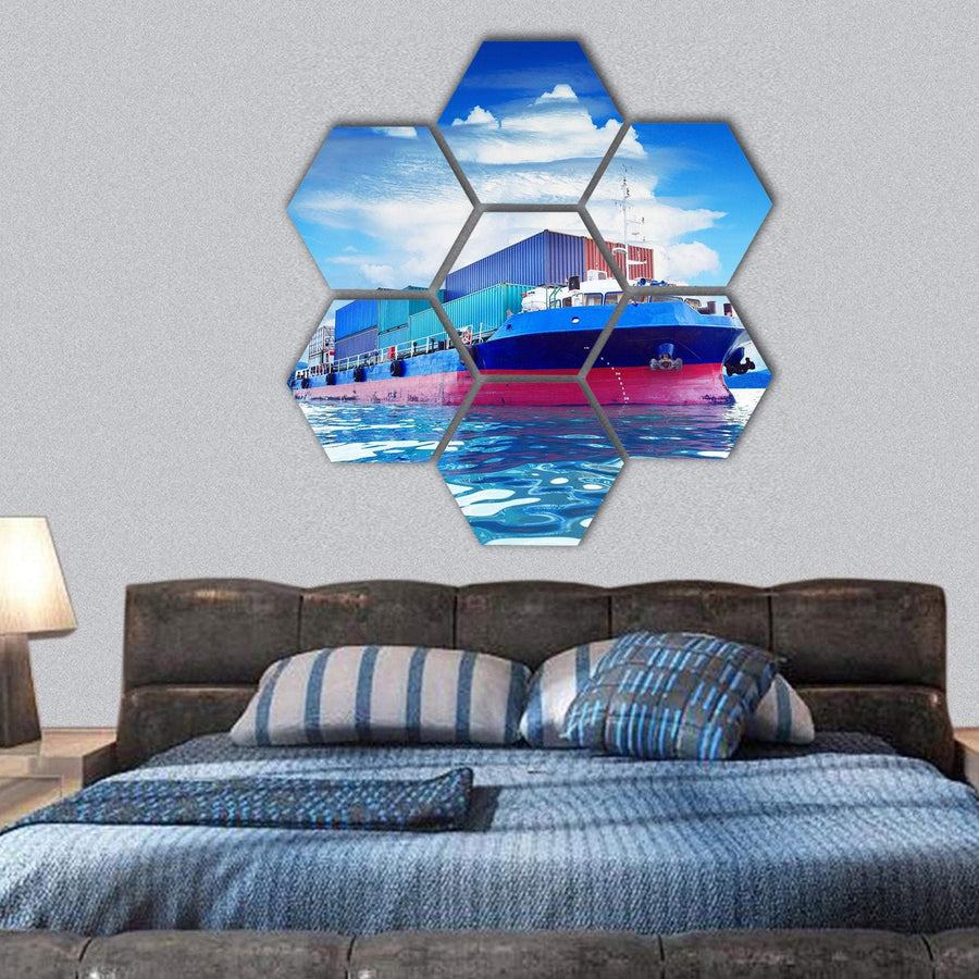 Commercial Container Ship Hexagonal Canvas Wall Art 1 Hexa / Small / Gallery Wrap Tiaracle