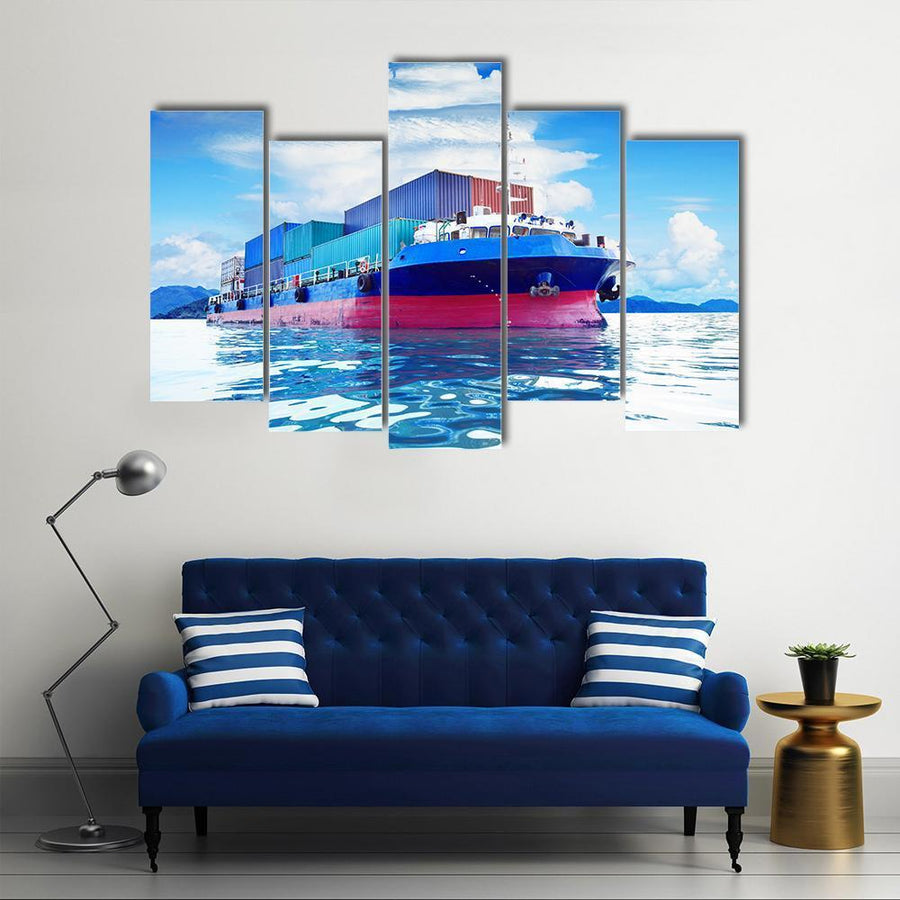 Commercial Container Ship Multi Panel Canvas Wall Art 4 Pieces / Medium / Canvas Tiaracle