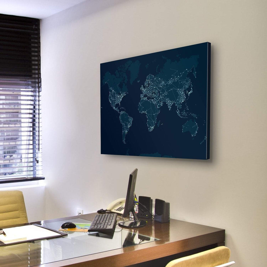 Communications Network Map Of The World Canvas Panel Painting Tiaracle