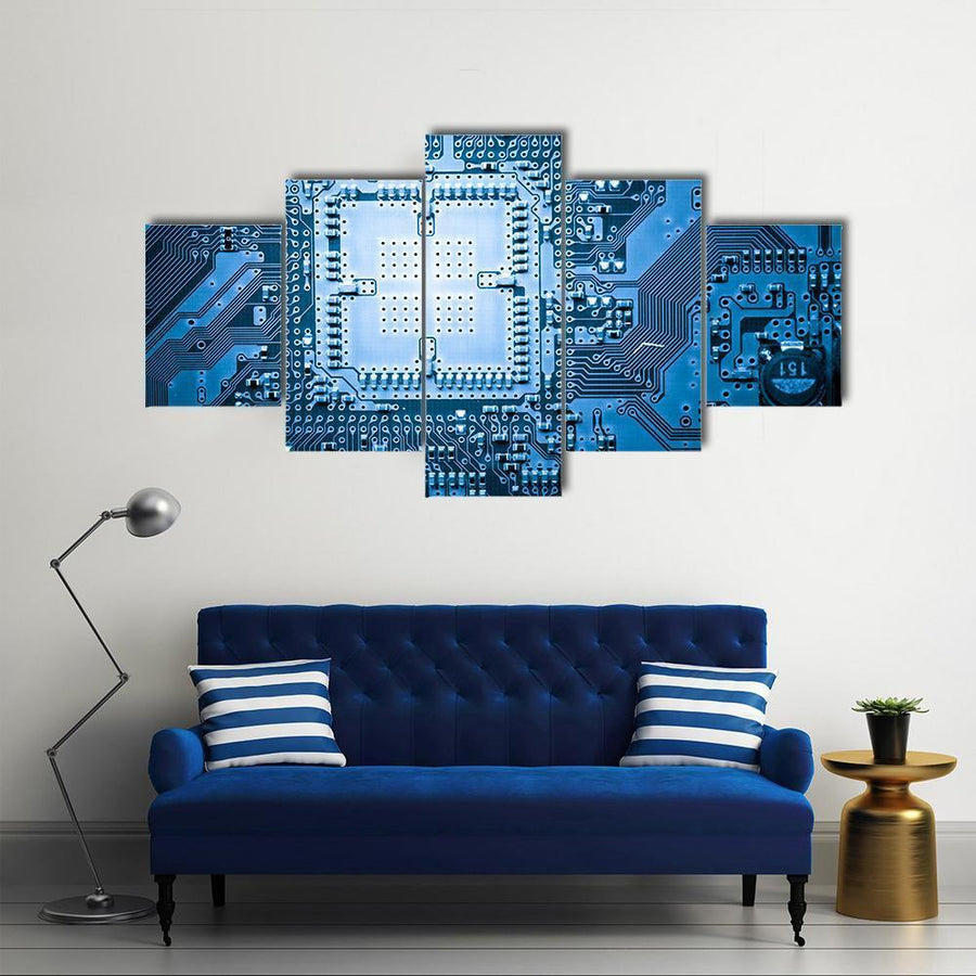 Computer Circuit Board Multi Panel Canvas Wall Art 4 Pieces / Medium / Canvas Tiaracle