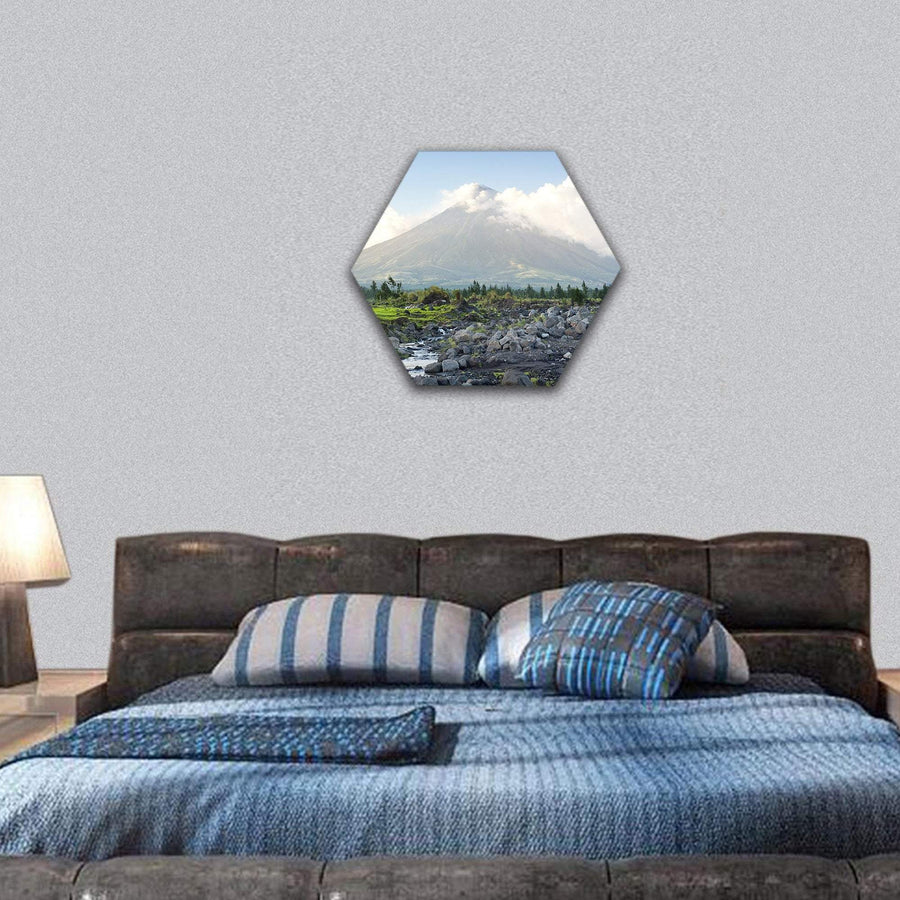 Cone Shaped Volcano Location On Luzon Island, Philippines Hexagonal Canvas Wall Art 7 Hexa / Small / Gallery Wrap Tiaracle
