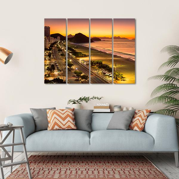 Copacabana Beach At Dawn Canvas Wall Art-1 Piece-Small-Gallery Wrap-Tiaracle
