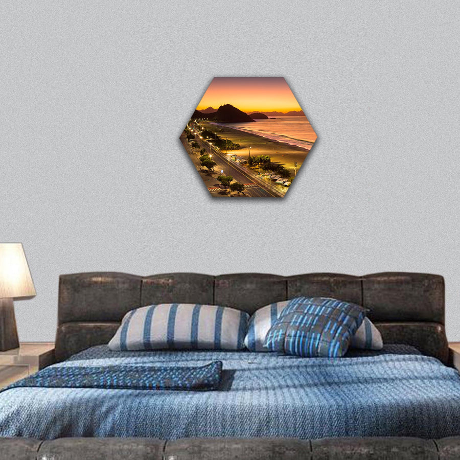 Copacabana Beach At Dawn Hexagonal Canvas Wall Art-7 Hexa-Small-Gallery Wrap-Tiaracle