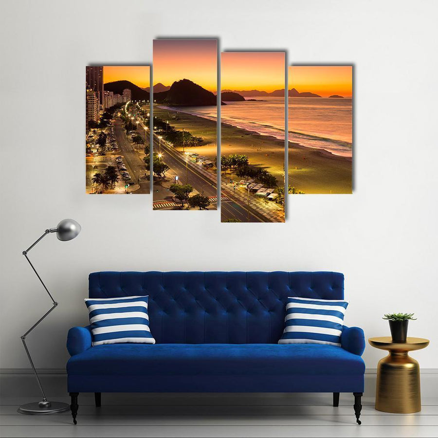 Copacabana Beach At Dawn Multi Panel Canvas Wall Art 5 Pieces(A) / Medium / Canvas Tiaracle