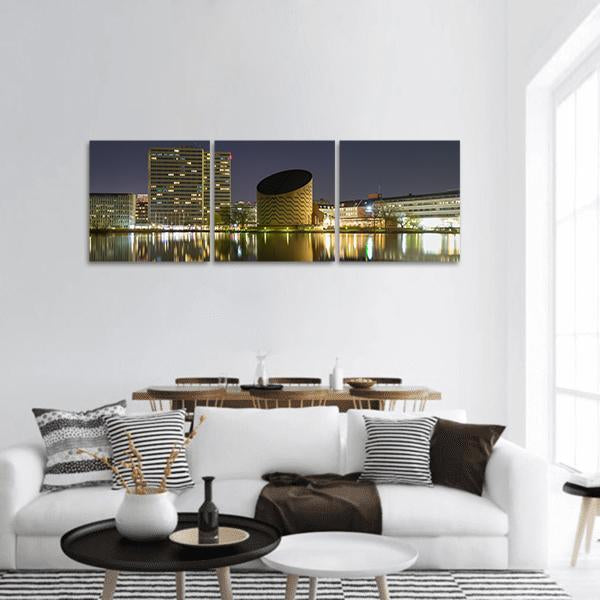 Copenhagen City At Night Panoramic Canvas Wall Art 1 Piece / Small Tiaracle