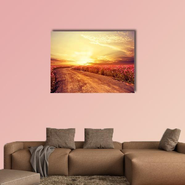 Cosmos Flower Field In Sky Sunset Multi Panel Canvas Wall Art 4 Horizontal / Small / Gallery Wrap Tiaracle