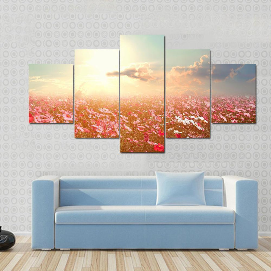 Pink And Red Cosmos Flower Field With Sunshine Canvas Panel Painting Tiaracle