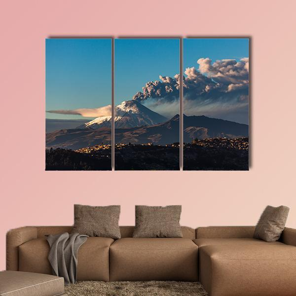 Cotopaxi Volcano Eruption Seen From Quito Multi Panel Canvas Wall Art 5 Pop / Medium / Gallery Wrap Tiaracle