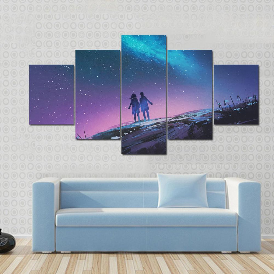 Couple Standing Against The Milky Way Galaxy Canvas Panel Painting Tiaracle