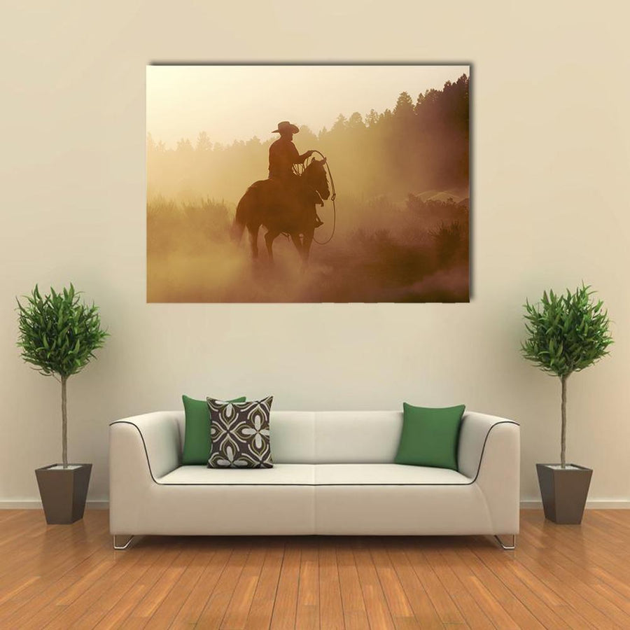 Cowboy In Setting Sun Multi Panel Canvas Wall Art 4 Horizontal / Small / Gallery Wrap Tiaracle