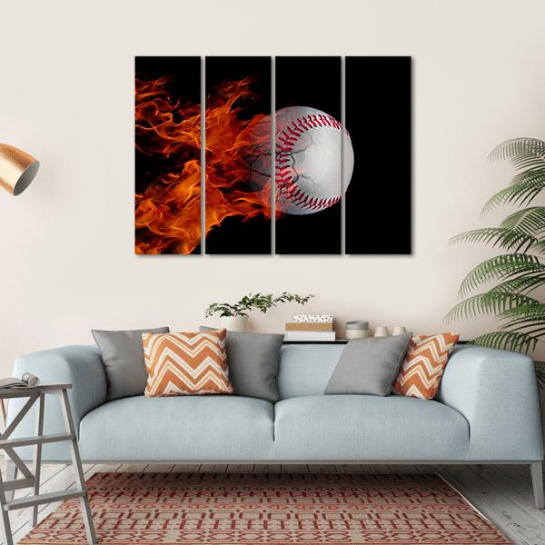 Cracked Baseball On Fire Multi Panel Canvas Wall Art 1 Piece / Small / Gallery Wrap Tiaracle