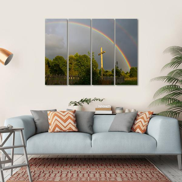 Cross And Rainbow Multi Panel Canvas Wall Art 1 Piece / Small / Gallery Wrap Tiaracle