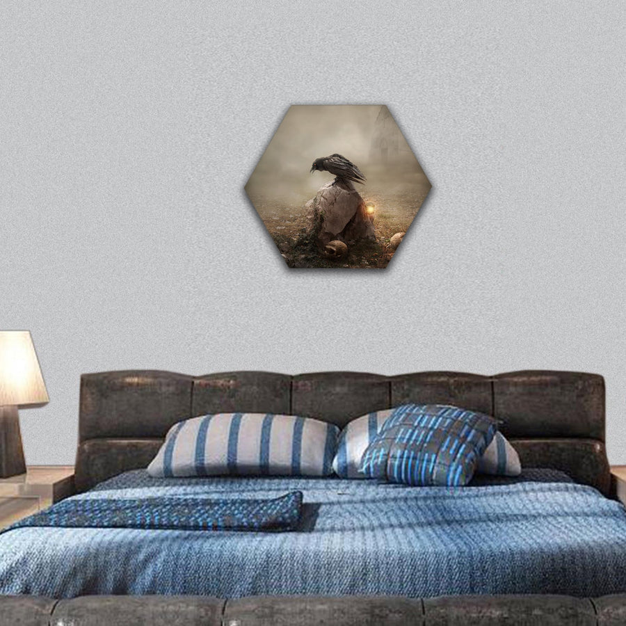 Crow Sitting On Gravestone Hexagonal Canvas Wall Art-7 Hexa-Small-Gallery Wrap-Tiaracle