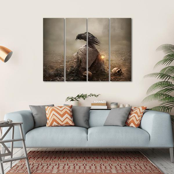 Crow Sitting On Gravestone Multi Panel Canvas Wall Art-1 Piece-Small-Gallery Wrap-Tiaracle