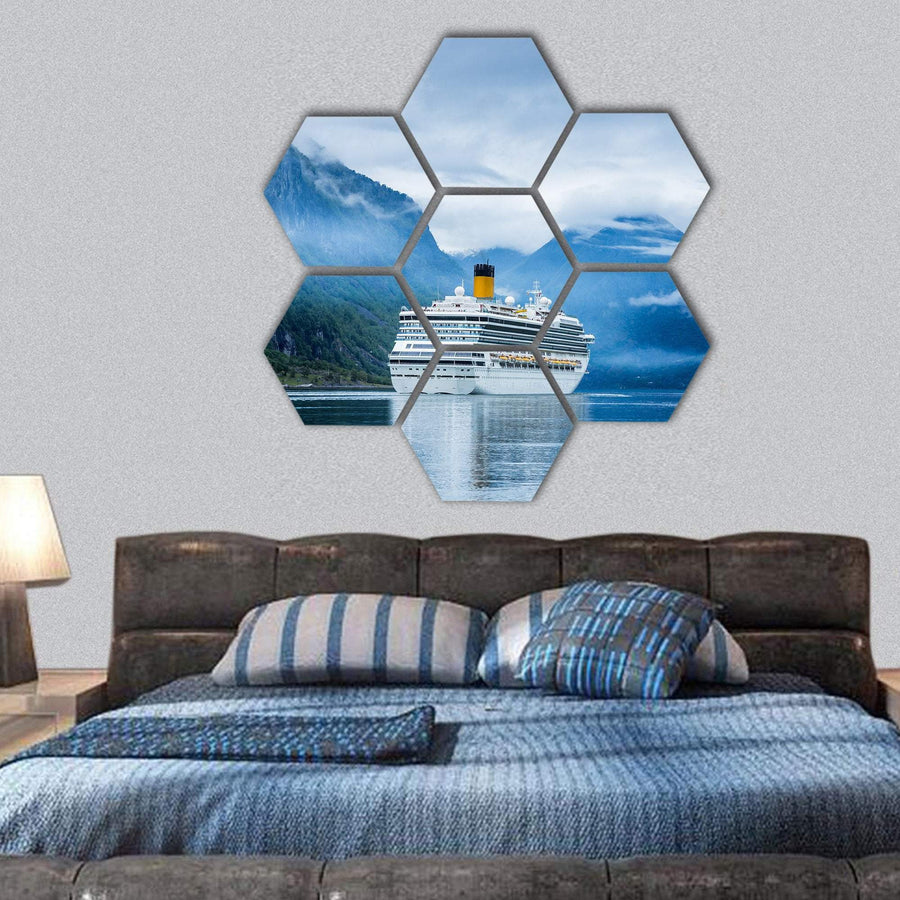 Cruise Liners On Hardanger Fjorden Hexagonal Canvas Wall Art 1 Hexa / Small / Gallery Wrap Tiaracle