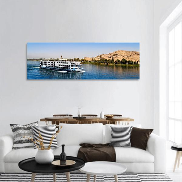 A Cruise On River Nile In Egypt Panoramic Canvas Wall Art 3 Piece / Small Tiaracle