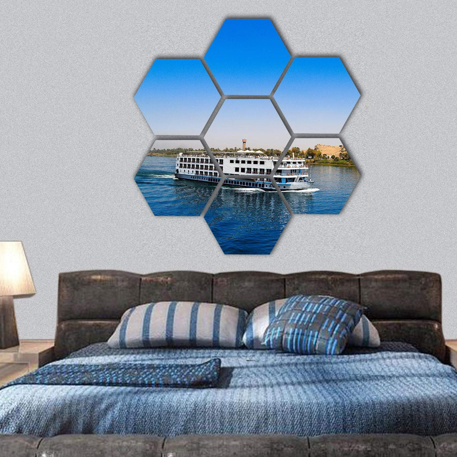 Cruise On The River Nile In Egypt Hexagonal Canvas Wall Art 1 Hexa / Small / Gallery Wrap Tiaracle