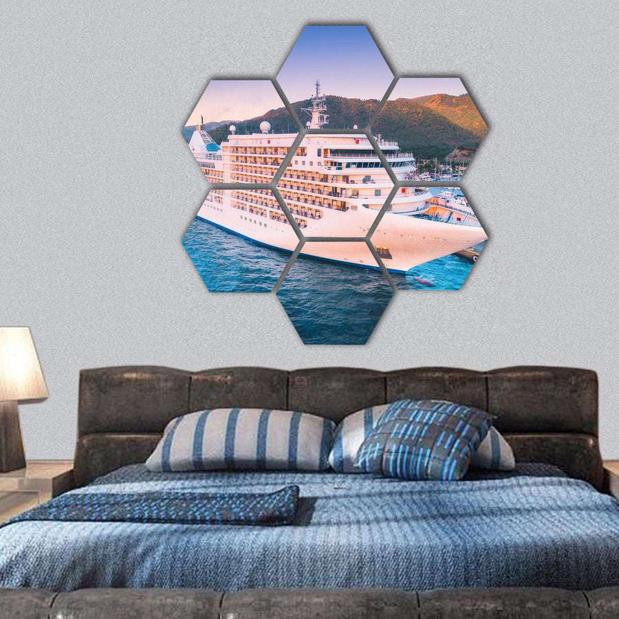 Cruise Ship At Harbor Hexagonal Canvas Wall Art 1 Hexa / Small / Gallery Wrap Tiaracle