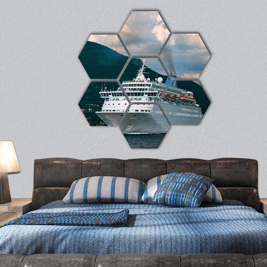 Cruise Ship Leaving From Kotor Bay Hexagonal Canvas Wall Art 1 Hexa / Small / Gallery Wrap Tiaracle