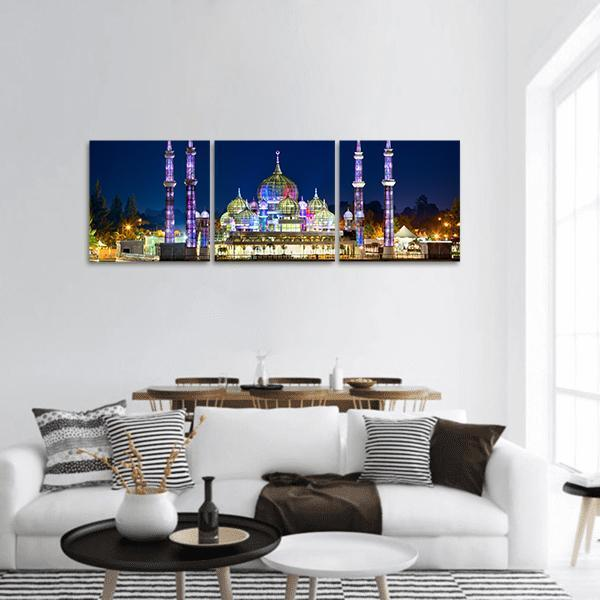 Crystal Mosque In Malaysia Panoramic Canvas Wall Art 1 Piece / Small Tiaracle