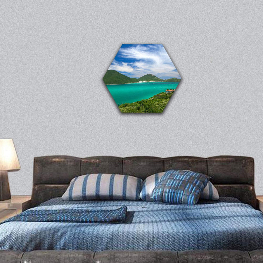 Crystalline Clear Waters In Arraial Do Cabo Hexagonal Canvas Wall Art 7 Hexa / Small / Gallery Wrap Tiaracle