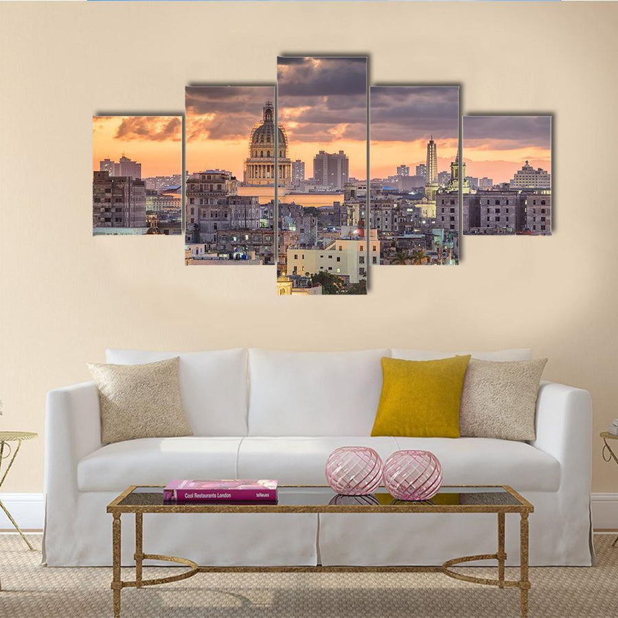 Havana In Cuba Downtown Skyline Multi Panel Canvas Wall Art 3 Pieces / Medium / Canvas Tiaracle