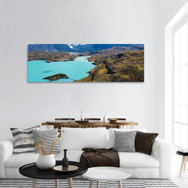 Cuernos Del Paine And Pehoe Lake In Chile Panoramic Canvas Wall Art 3 Piece / Small Tiaracle