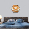Cup Of Cafe Latte With Coffee Bbeans And Puff Pastry Hexagonal Canvas Wall Art 1 Hexa / Small / Gallery Wrap Tiaracle