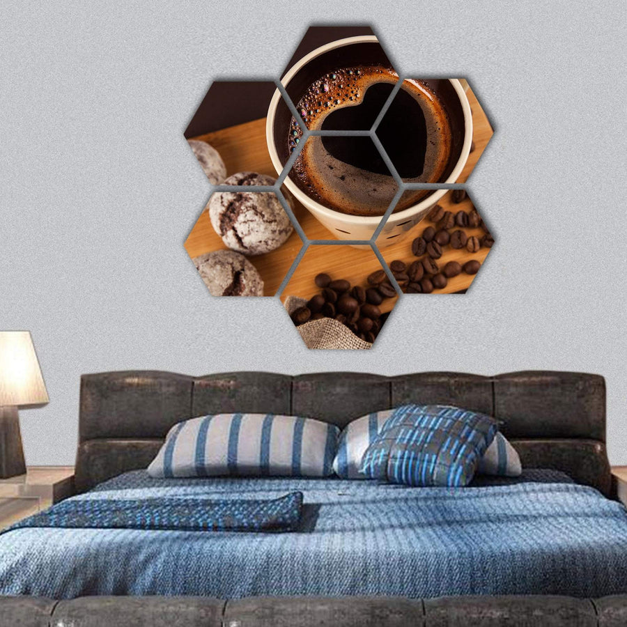 Cup Of Coffee With Foam Heart Shaped Hexagonal Canvas Wall Art 1 Hexa / Small / Gallery Wrap Tiaracle