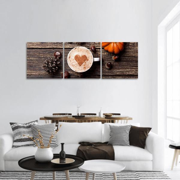 Cup Of Coffee With Heart Shape Panoramic Canvas Wall Art 1 Piece / Small Tiaracle