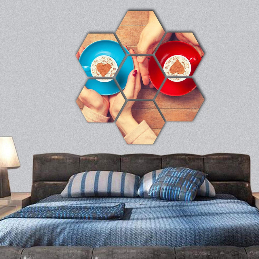 Cups Of Coffee With Heart Shape Hexagonal Canvas Wall Art 1 Hexa / Small / Gallery Wrap Tiaracle