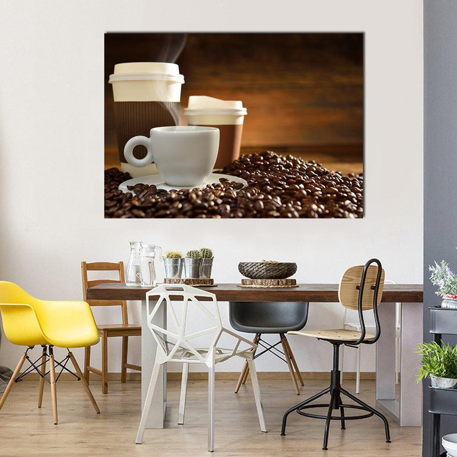 Cups Of Coffee With Smoke And Coffee Beans Multi Panel Canvas Wall Art 4 Horizontal / Small / Gallery Wrap Tiaracle