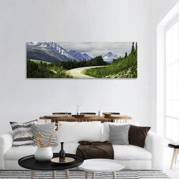 Curved Asphalt Road In Mountains Of Alaska Panoramic Canvas Wall Art 3 Piece / Small Tiaracle