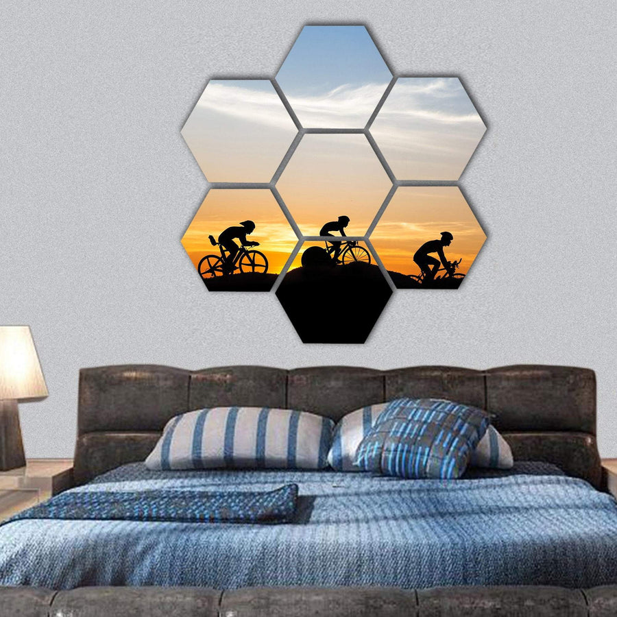 Cycling At Mountain On Twilight Time Hexagonal Canvas Wall Art 1 Hexa / Small / Gallery Wrap Tiaracle