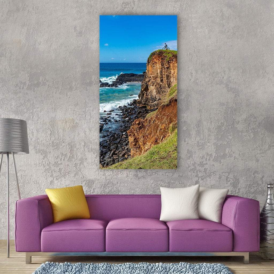 Cyclist Rider At Cliffs Vertical Canvas Wall Art 3 Vertical / Small / Gallery Wrap Tiaracle