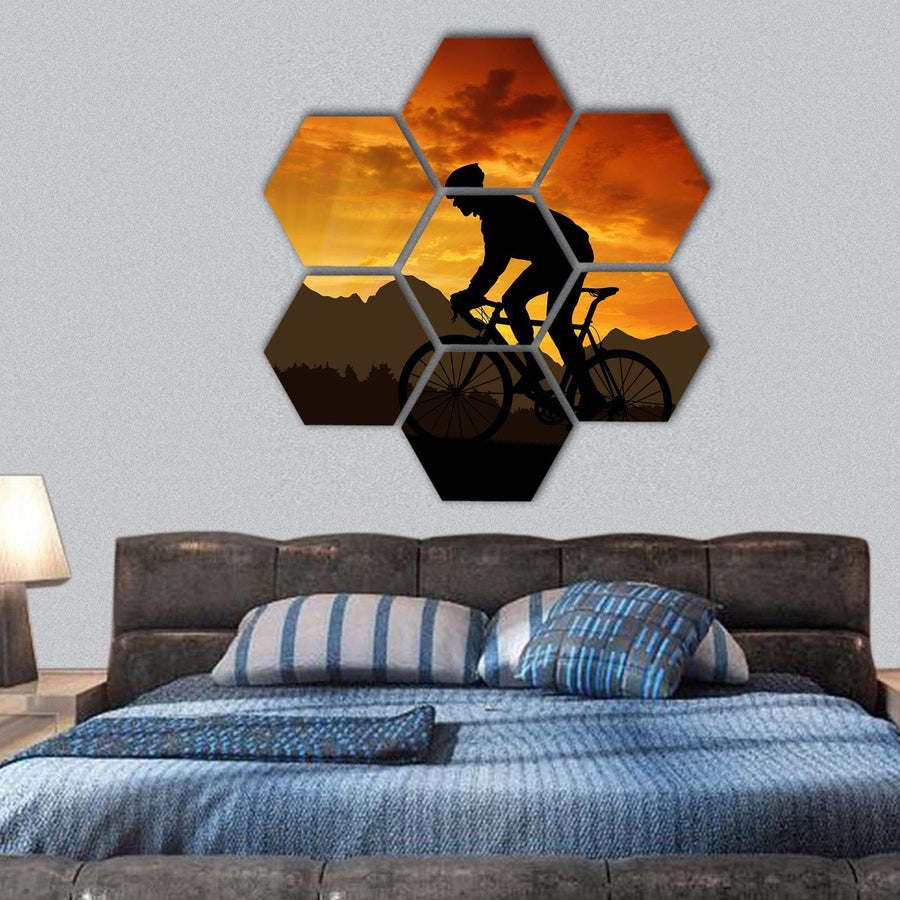 Cyclist Riding A Road Bike At Sunset Hexagonal Canvas Wall Art 1 Hexa / Small / Gallery Wrap Tiaracle