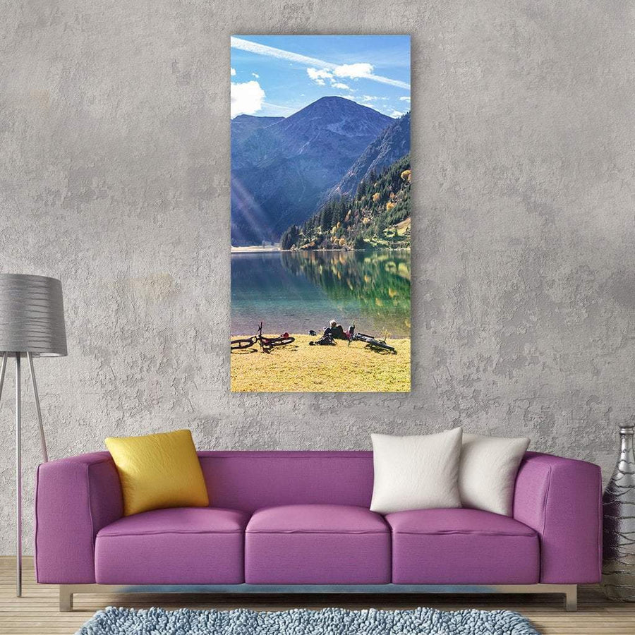 Cyclist Taking Rest Break Near Lake Vertical Canvas Wall Art 3 Vertical / Small / Gallery Wrap Tiaracle