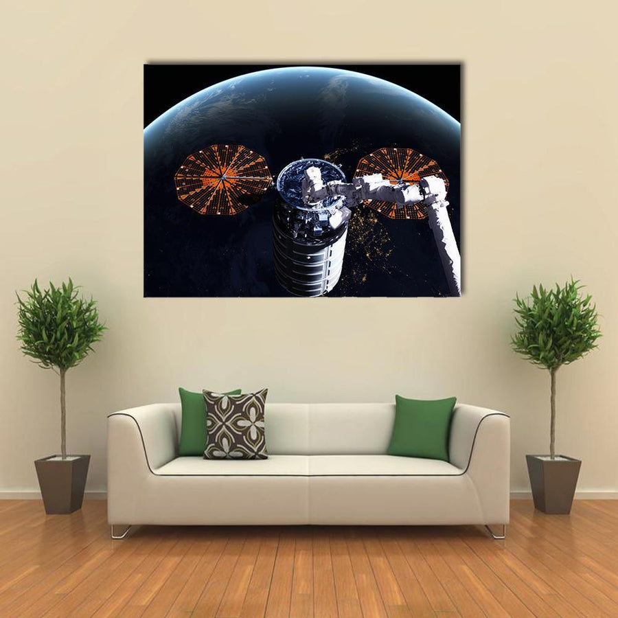 Cygnus Spacecraft In Open Space Multi Panel Canvas Wall Art 3 Pieces / Medium / Canvas Tiaracle