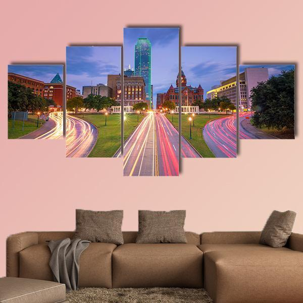 Dallas Downtown Skyline At Twilight Multi Panel Canvas Wall Art 4 Pieces / Medium / Canvas Tiaracle100587571_xl