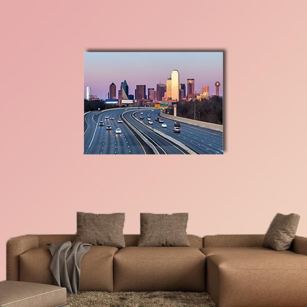 Dallas Downtown Skyline Multi Panel Canvas Wall Art 4 Pieces / Medium / Canvas Tiaracle